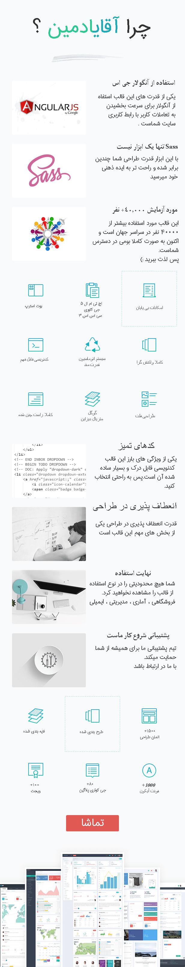 قالب حرفه ای مدیریت HTML آقای ادمین
