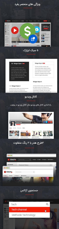 قالب اشتراک ویدئو Videopro